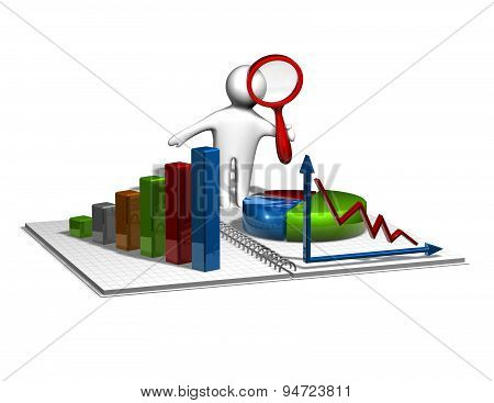 3D Man Analyzing Graphs, Business And Financial Report Concept
