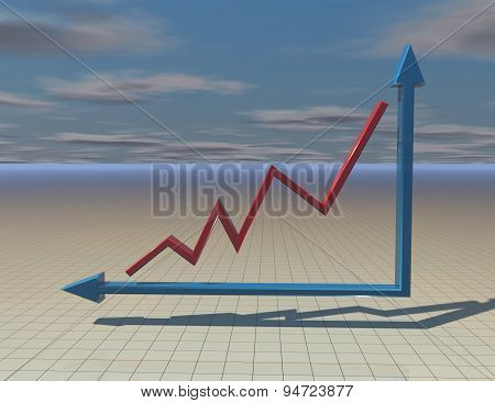 Beautiful Abstract Background With 3D Graph, Sky And Floor