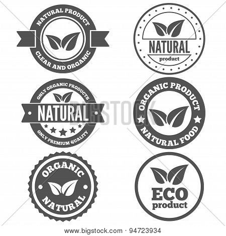 Set of vintage logo, label, badge, logotype elements for organic,  natural companies, corporates, co