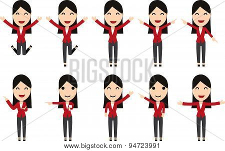 Set Of Business Woman Characters In Movement