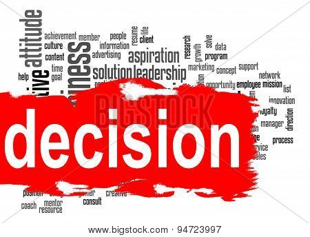 Decision Word Cloud With Red Banner