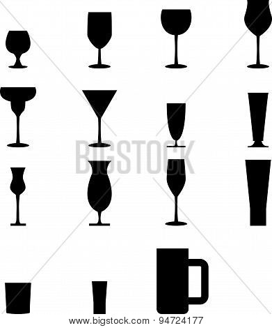 Set Of Silhouette Glass Icons