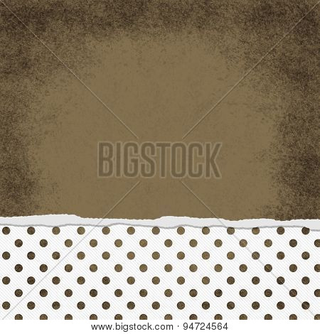 Square Brown And White Polka Dot Torn Grunge Textured Background