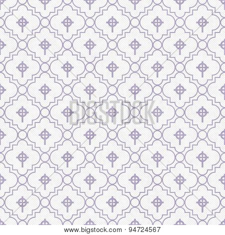 Purple And White Celtic Cross Symbol Tile Pattern Repeat Background