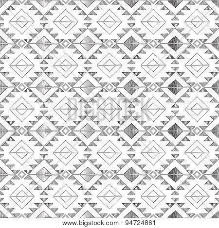 Original Drawing Tribal Doddle Rhombus . Background With Geometric Elements . Black And White Petter