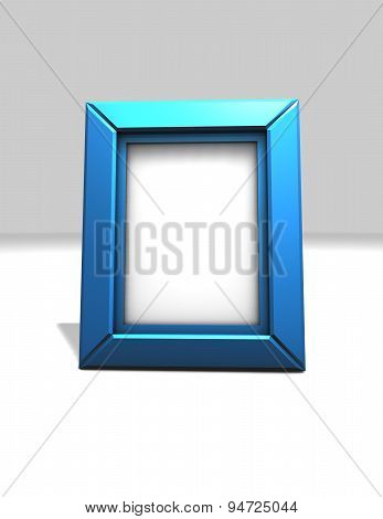 Simple, Blue, Shiny Picture And Photo Frame Standing, Isolated