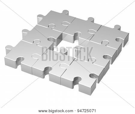 Simple 3D Jigsaw Puzzles Render Isolated