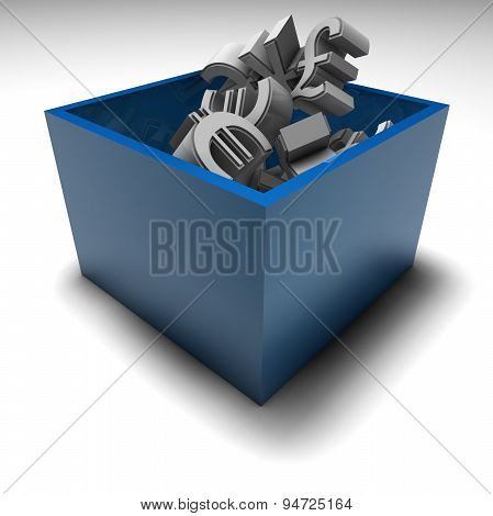 Forex Market Concept With Money Symbols In Box