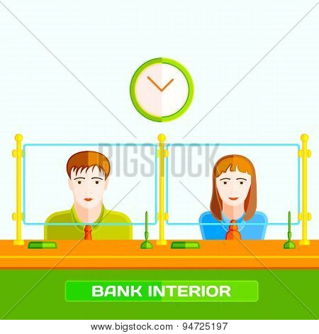 Bank clerks behind the counter. Flat style vector illustration.
