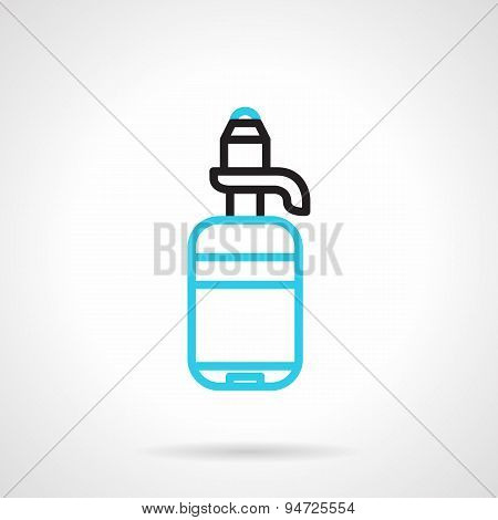 Bottle with pump line vector icon