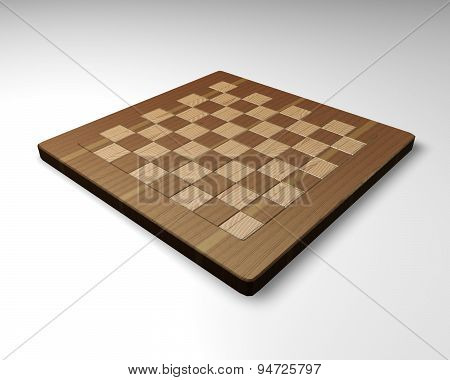 Empty Wood Chessboard Isolated Illustration Back View