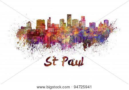 St Paul Skyline In Watercolor