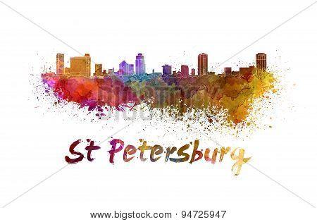 St Petersburg Fl Skyline In Watercolor