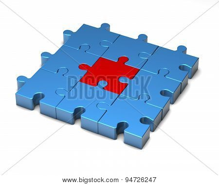 Simple Blue And Red Puzzles Illustration Isolated