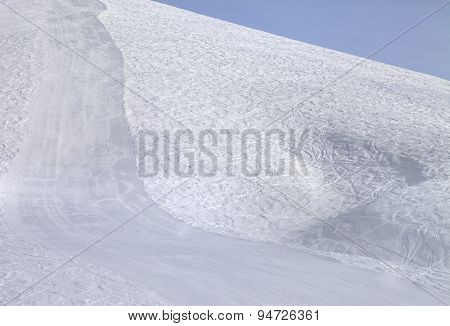 Ski Slope At Sun Morning
