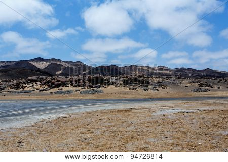 Rock Formation In Namib With Blue Sky