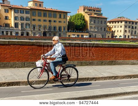 Cyclists In Florence.