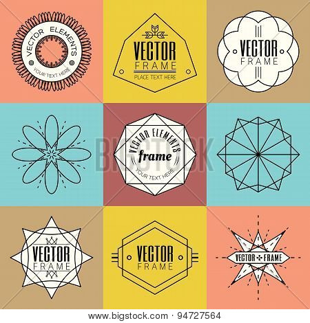 Set Line Art Insignia Retro Vintage Design Elements