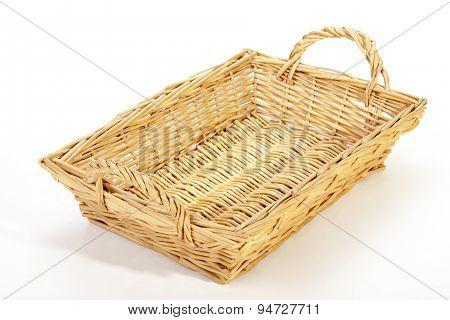 Above View Of Rectangular Woven Wicker Basket