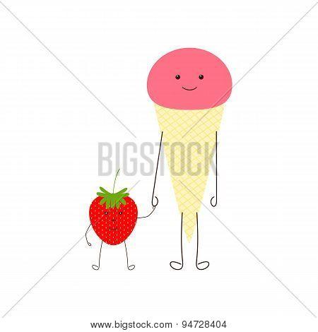 Ice Cream And Strawberry