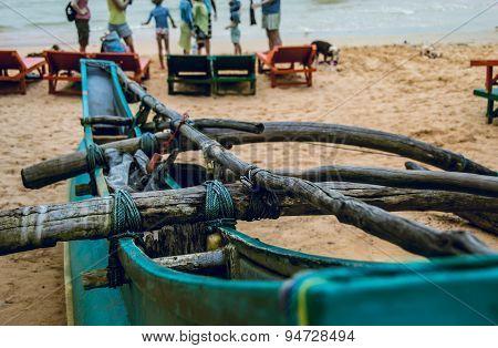 Tony boat close-up, beach Sri Lanka