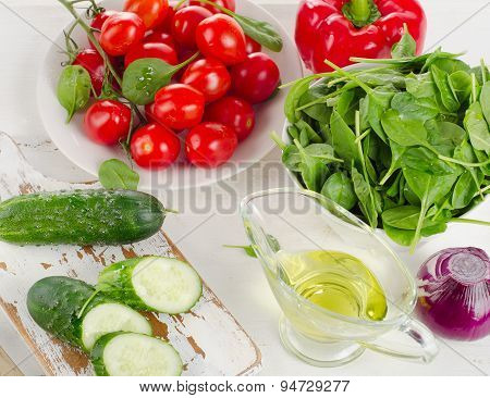 Ingredients For Fresh Vegetable Salad