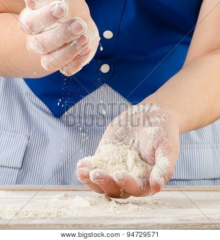 Woman Hands With Flour