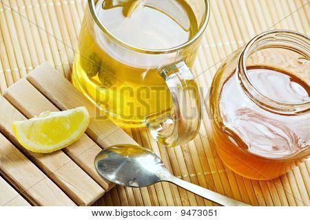 Green Tea Healthy Hot Drink And Lemon
