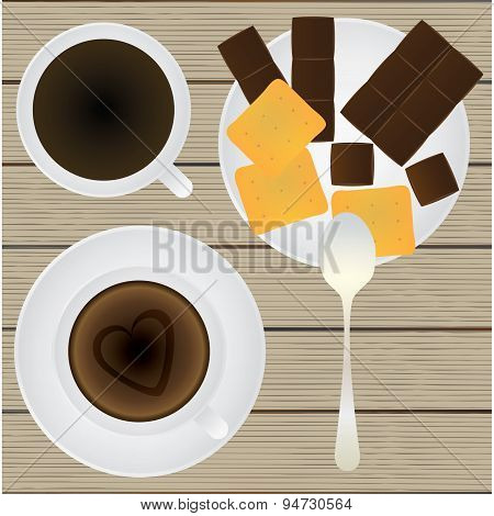Cup Of Coffee, Saucer, Teaspoon, Chocolate And Cookies On A Table. Top View.