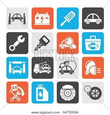 Silhouette Car service maintenance icons
