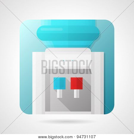 Flat stylish vector icon for water dispenser