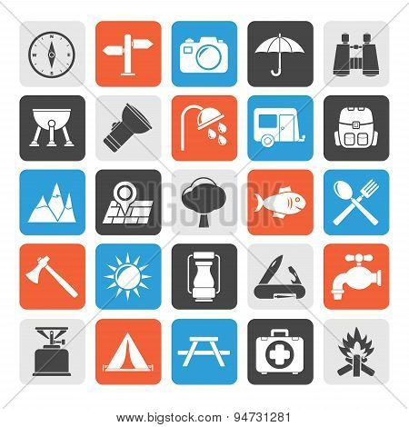 Silhouette Camping and tourism icons