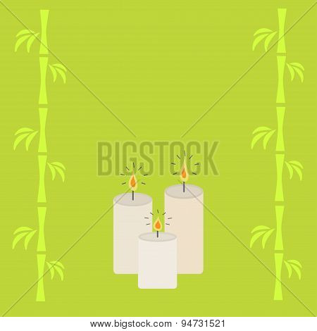 Three Burning Candles And Bamboo. Green Background Isolated Flat Design
