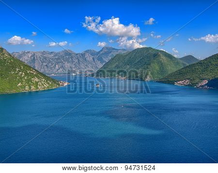 The landscape of the Adriatic coast of Kotor, Montenegro.