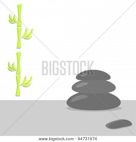 Spa Stones Pyramid And Bamboo Stone Therapy White Background Flat Design