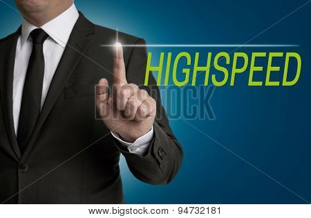 Highspeed Touchscreen Is Served By Businessman