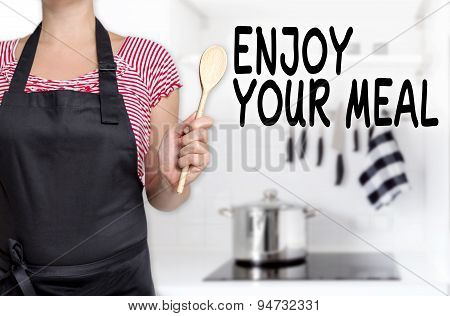 Enjoy Your Meal Cook Cooking Spoon Holds Background