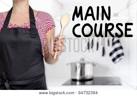 Main Course Cook Holding Wooden Spoon Background