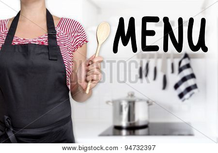 Menu Cook Holding Wooden Spoon Background