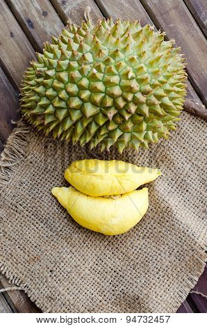 Durian Fresh Yellow  Fruit On Wooden Background