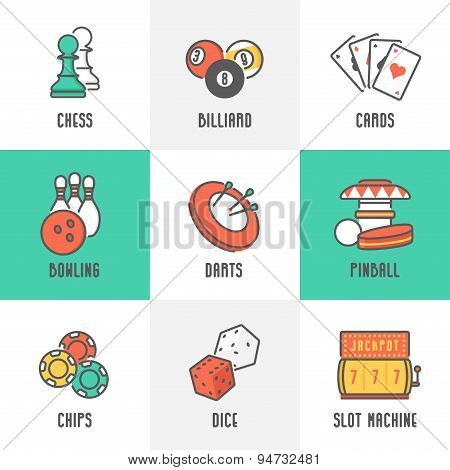 Casino Sport And Leisure Games Icons