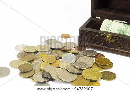 Metal Coins With Banknotes In The Box Isolated