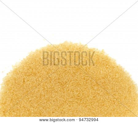 Top View Of  Brown Cane Sugar On White Background
