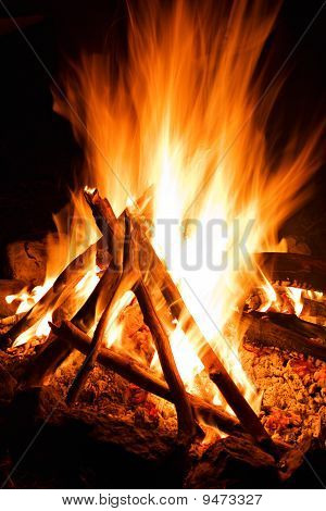 Burn Hot Fire Flame At Dark Background