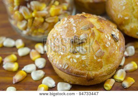 Corn Bread With Sesame And Corn Grains