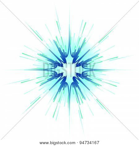 Blue Explosion On White Background Vector Illustration