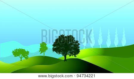 Landscape Tree Silhouette Hills Vector Background