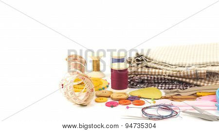 Set Of Sewing Tools On White