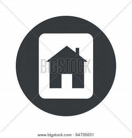 Monochrome round house plate icon