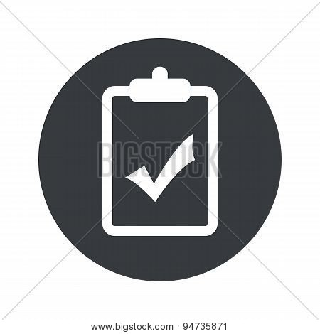 Monochrome round clipboard YES icon